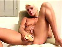 Marilyn can't wait for the real dick so she's using a dildo