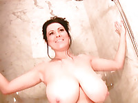 Busty Rachel Aldana getting steamy in the shower