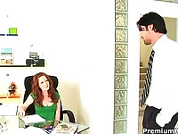 Redhead Nikki is an office girl who fucks