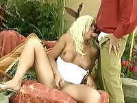 Outdoor fun with a pretty blond ladyboy