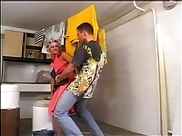 Mature cleaning lady fucked up the ass