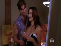 Teri Hatcher in a skimpy teddy showing some nice cleavage, her black panties visible through the see-through teddy as she does some sexy housework in front of a webcam on a laptop before a guy enters the room and interrupts her. After talking to the guy f