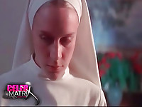 Chloe Sevigny lifting up her nun's dress as a guy pulls down her panties to reveal her bush. She then lays back on a table as the guy pulls up her dress to reveal her right breast before beginning to have sex with her. From 3 Needles.