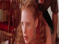 Jessica Chastain naked in a kitchen with the guy as he makes out with her and lifts her up to place her on the counter top. Then Jessica Chastain topless doing a sexy striptease on stage at a club. From Jolene.