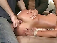 Busty latin babe gets surprise visitors fucked violently and getting pussy ripped in gang bang