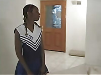 hot ebony cheerleader girl drilled by player on steroids