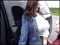 Redhead sucking huge tits and getting milf
