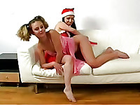 lesbian Happy New year starting hot from spanking by dildo!
