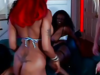 black lesbian gang bang dildo party making a lot of pussy juice!
