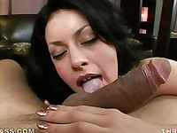 Brunette slobbers on cock