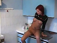 Drunk redhead fucked by two horny guys