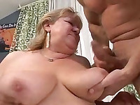 Fat mature bitch gobbling up this hard cock