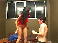 Mean mistress beats her man hard