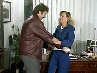 Hairy pussy slut fucked in her office