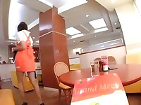 Japanese maid upskirt as she cleans