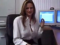 Slutty secretary in stockings wants cock
