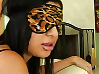 Blind fold Sexy porn star Sativa Rose going to interracial party in this video