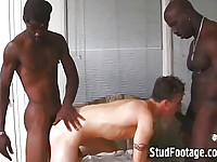 2 gay black thugs fuck white boy's ass