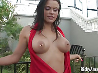 Hot amateur babe stripping in public