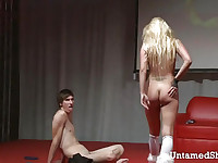 Sexy blonde stripper sticks fingers in her cunt