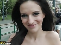 Passionate girl has sex in public place