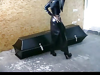 Hot girl in latex dildos her cunt