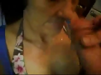 Great facial on nasty granny. Real amateur older