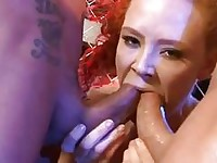 Pale curly redhead with big hooters gets nailed in doublr penetration