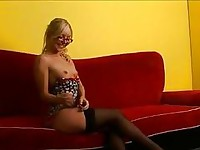 Hot ass nerdy blonde teen in stockings does hot striptease