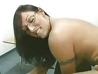 Nerdy brunette pornstar with glasses gets fucked doggy style