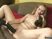 Pale mature blonde slut with small boobs sticks XXL dildos in her cunt