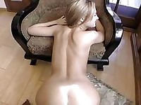 Pale skinny blonde with natural boobs gets her shaved pussy slammed