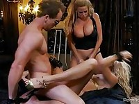 Two whorish blonde pornstars having fun in threesome action