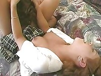 Blonde college girl gets her shaved muff licked on bed