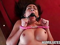 Dark haired pornstar in sexy lingerie sucks cock after being humiliated