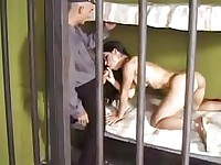 Tempting brunette beauty gets hard cock up her tight ass in prison