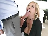 Heavy chested blonde momma sticks huge dick in her mouth