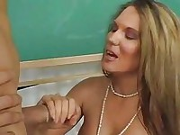 Busty blonde gets her nookie rammed by tattooed hunk in classroom