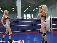 Two blonde lesbians wrestling turns into hot sex scene
