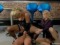 Two exotic blondes in sexy underwear taking turns in riding one cock