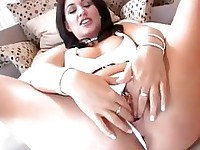 Renee Richards plays with her wet clit as she gets fucked deep from behind