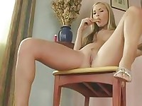 Sweetheart Jana Mrhacova sliding a golden toy in her pink slippery snatch