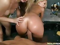Horny blondes Nicole Aniston and Sarah Vandella really enjoying this huge cock f