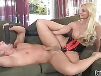 Cock lover Phoenix Marie feeds her starving mouth with a live hard sausage