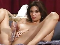 Beautiful Tera Patrick fucks her wet pussy with huge toy