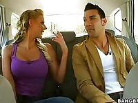 Sexy hot blonde Phoenix Marie getting cozy in the car with her macho boyfriend