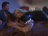 Horny Jessica Drake stuffs a massive huge cock deep down her slippery throat