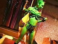 Pornstar stripper Crystal Knight gets horny as she grinds on the brass pole