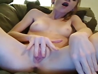 Noisy girl masturbates wet pussy to orgasm