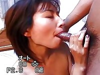 Asian hottie sucking some hard cock here